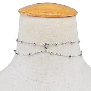 Jewelry - Silver Ball Chain Crystal Layered Victorian Choker